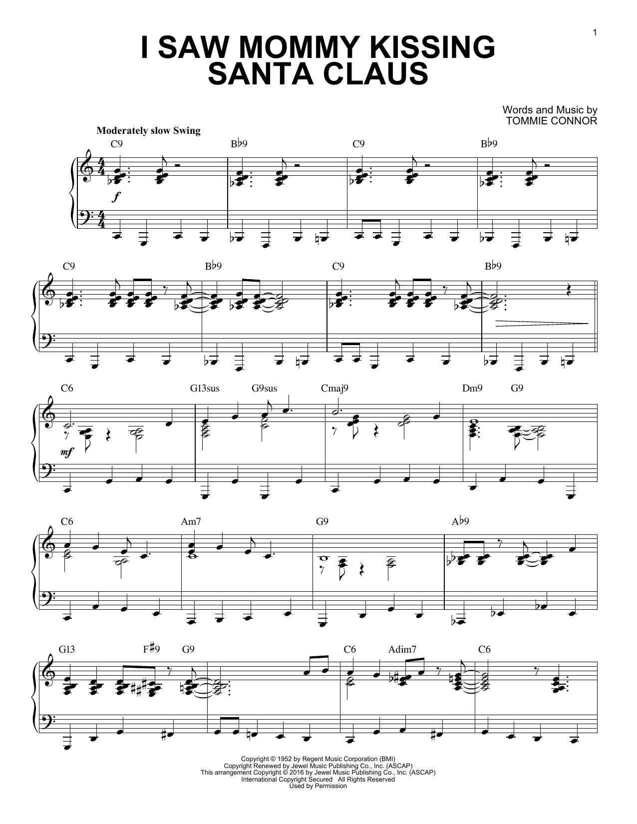 Tommie Connor I Saw Mommy Kissing Santa Claus [Jazz version] (arr. Brent Edstrom) sheet music notes and chords. Download Printable PDF.