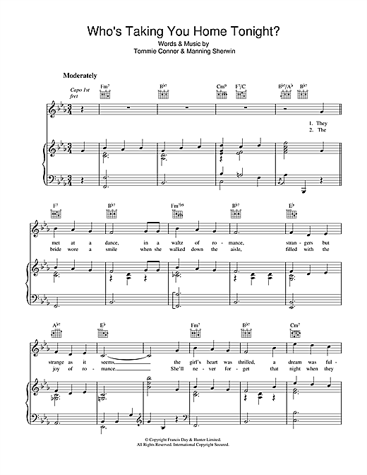 Tommie Connor Who's Taking You Home Tonight? sheet music notes and chords. Download Printable PDF.