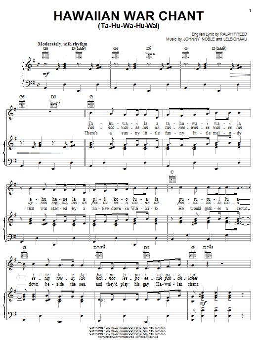 Tommy Dorsey Hawaiian War Chant sheet music notes and chords. Download Printable PDF.