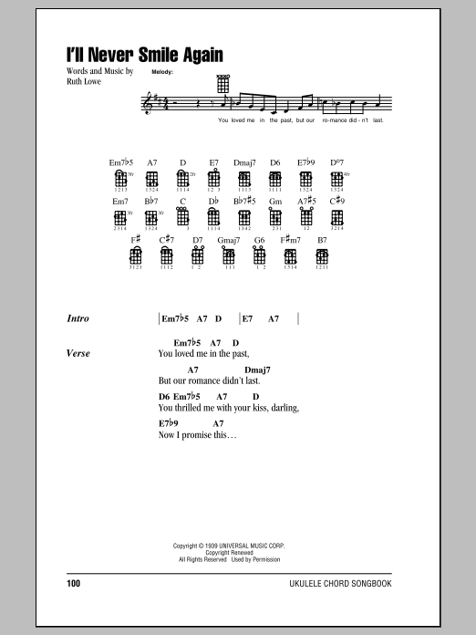 Tommy Dorsey & His Orchestra I'll Never Smile Again sheet music notes and chords. Download Printable PDF.