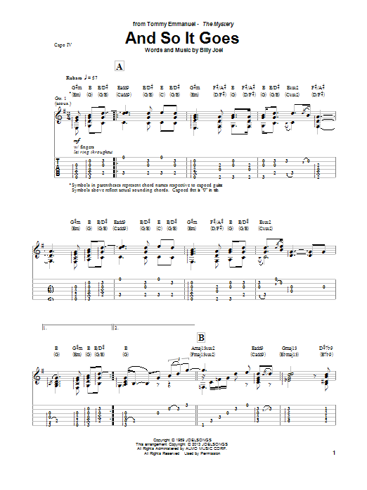 Tommy Emmanuel And So It Goes sheet music notes and chords. Download Printable PDF.