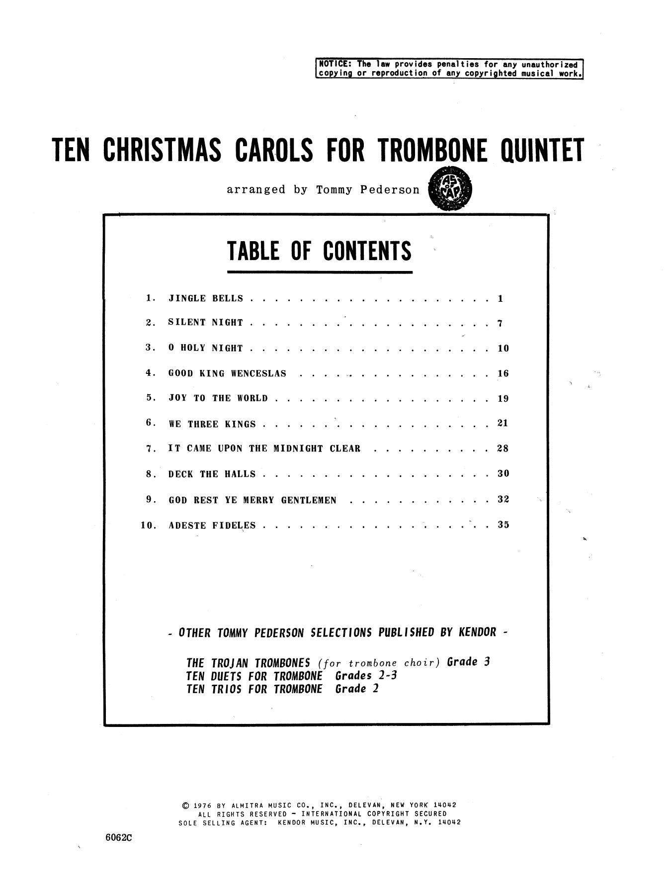 Tommy Pederson Ten Christmas Carols For Trombone Quintet/Full Score sheet music notes and chords. Download Printable PDF.