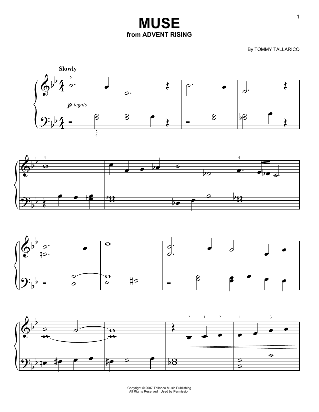 Tommy Tallarico Muse (from Advent Rising) sheet music notes and chords. Download Printable PDF.