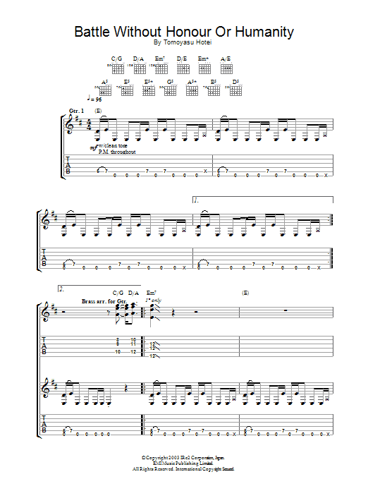 Tomoyasu Hotei Battle Without Honour Or Humanity (from Kill Bill Vol. 1) sheet music notes and chords. Download Printable PDF.