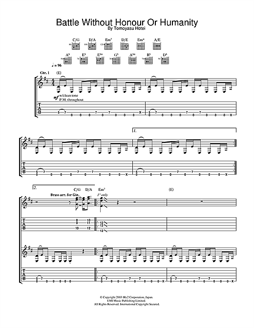 Tomoyasu Hotei Battle Without Honour Or Humanity (from Kill Bill Vol. 1) sheet music notes and chords