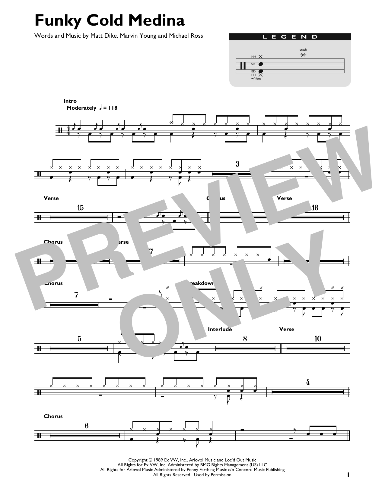 Tone Loc Funky Cold Medina sheet music notes and chords. Download Printable PDF.