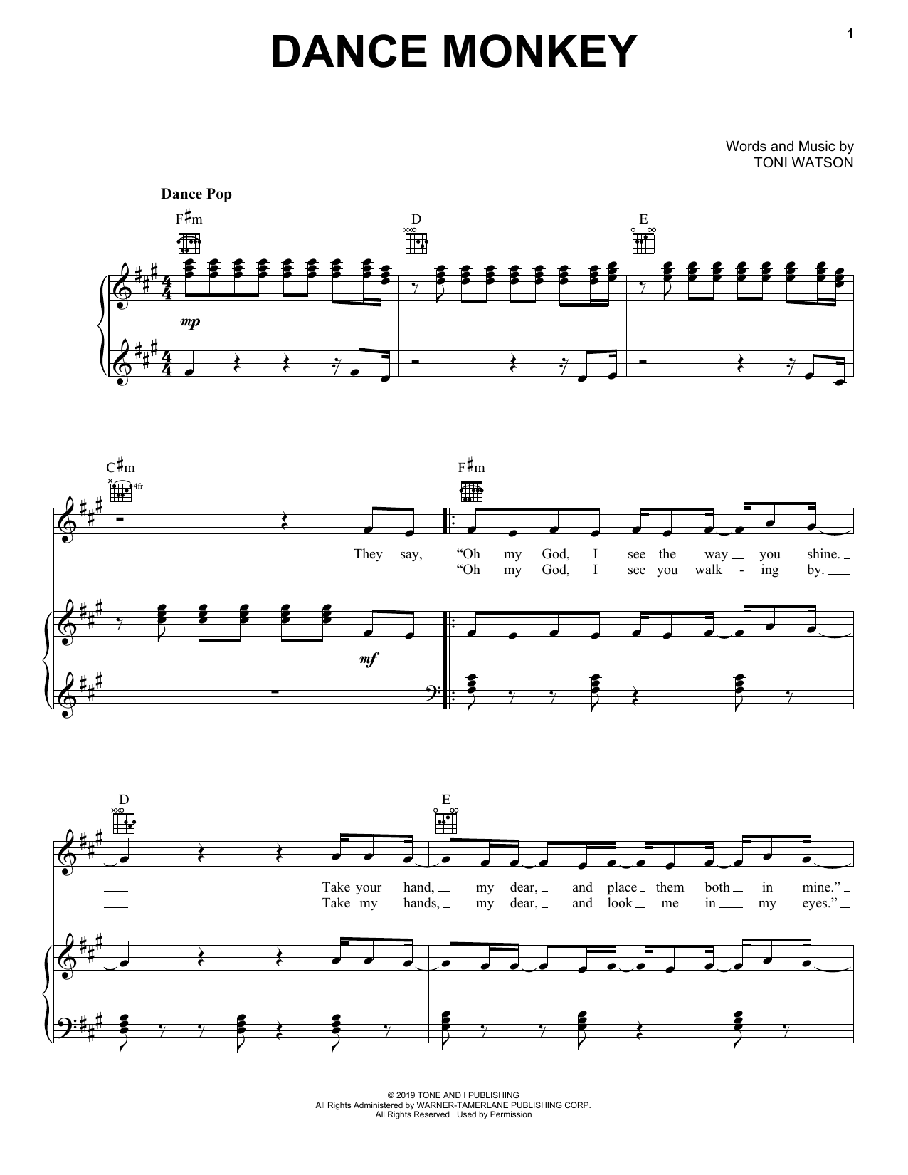 Tones And I Dance Monkey sheet music notes and chords. Download Printable PDF.