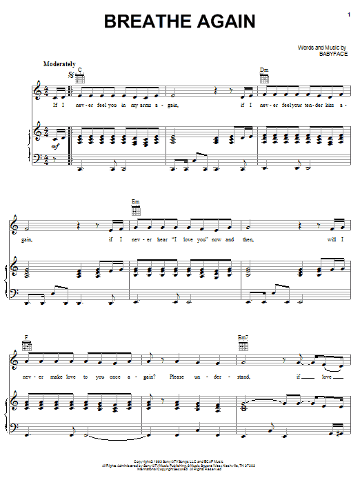 Toni Braxton Breathe Again sheet music notes and chords