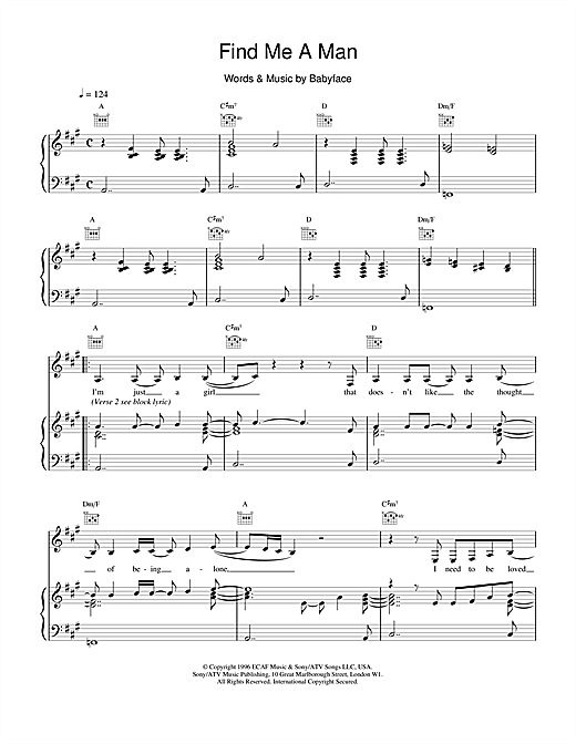 Toni Braxton Find Me A Man sheet music notes and chords