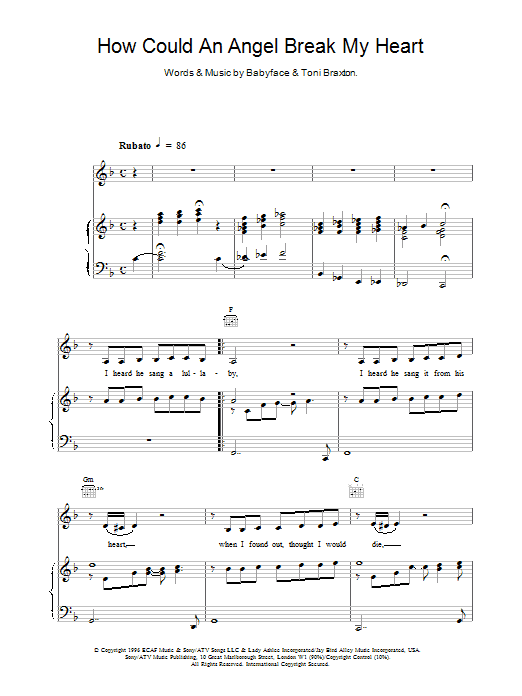 Toni Braxton How Could An Angel Break My Heart sheet music notes and chords. Download Printable PDF.