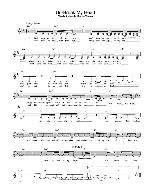 Toni Braxton Un-Break My Heart sheet music notes and chords
