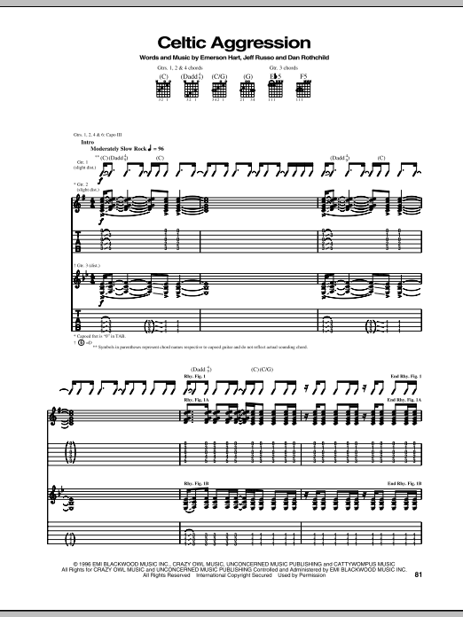 Tonic Celtic Aggression sheet music notes and chords. Download Printable PDF.