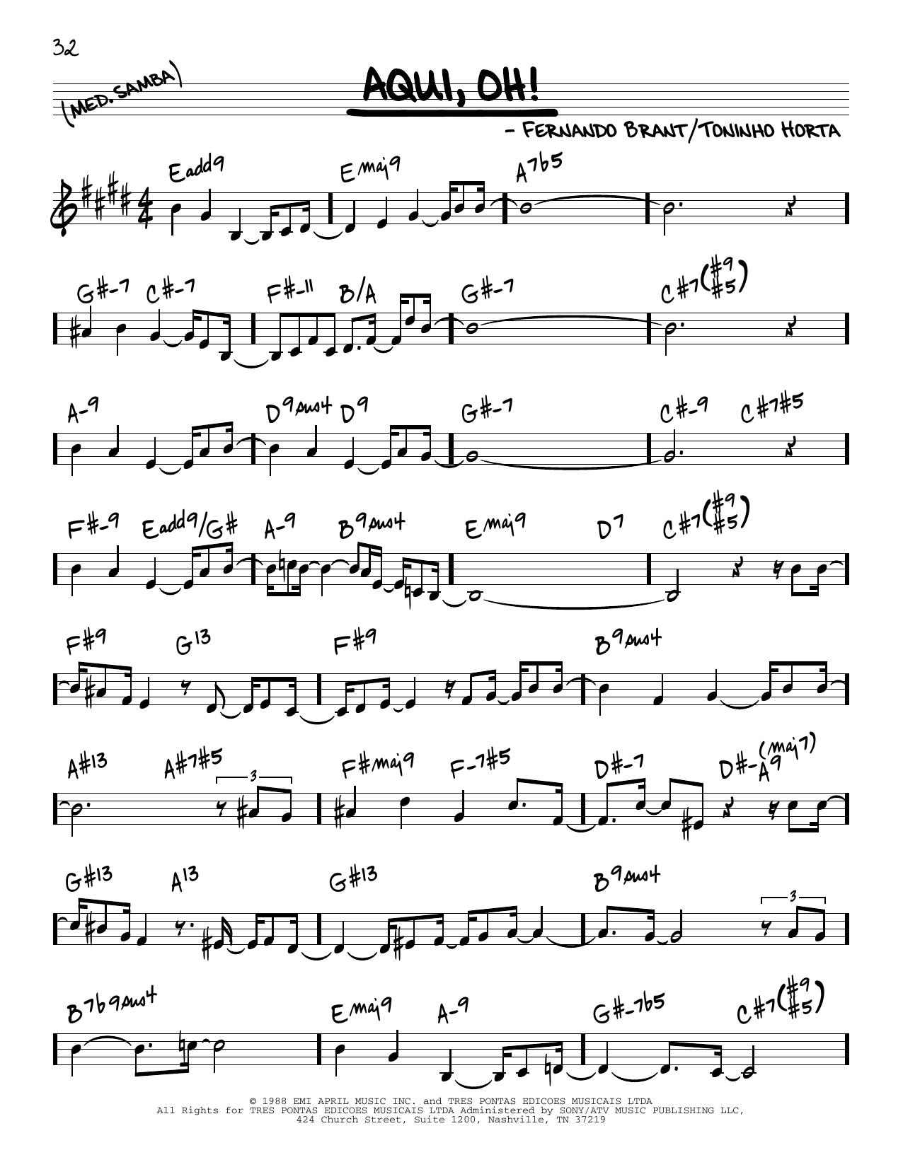 Toninho Horta Aqui, Oh! sheet music notes and chords. Download Printable PDF.