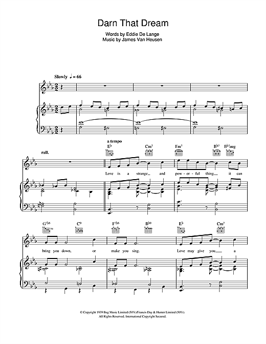 Tony Bennett Darn That Dream sheet music notes and chords. Download Printable PDF.