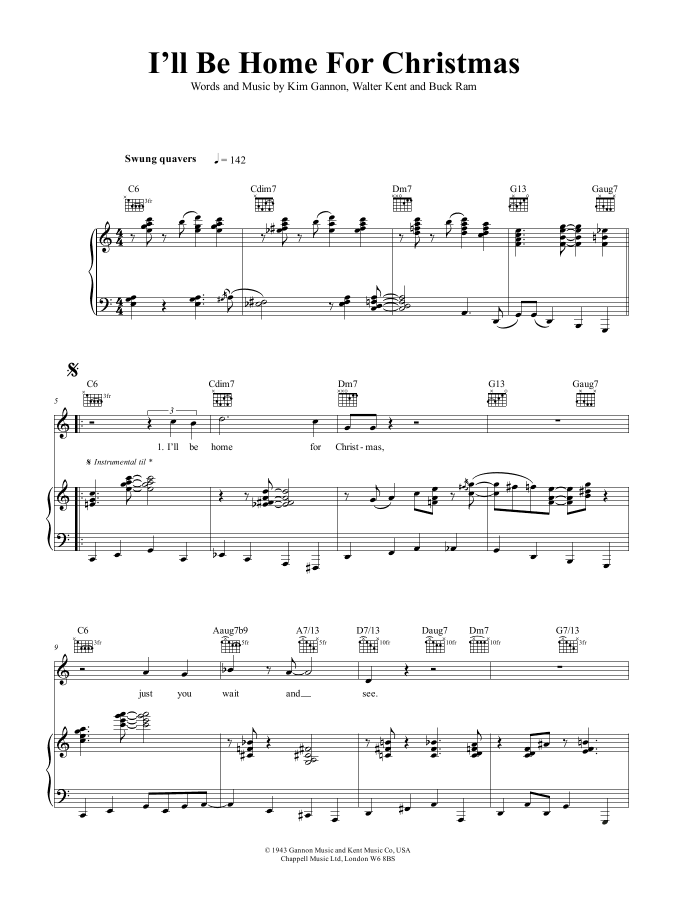 Tony Bennett I'll Be Home For Christmas sheet music notes and chords. Download Printable PDF.