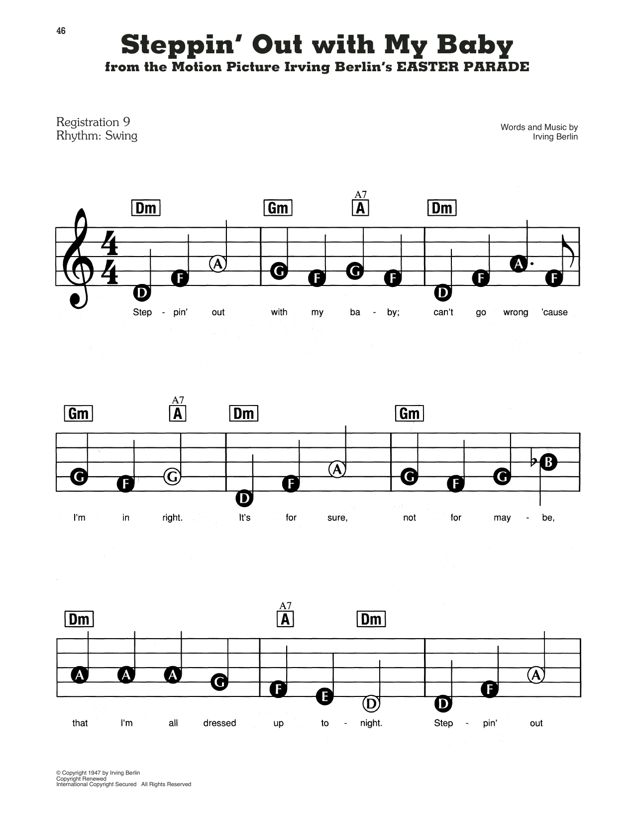 Tony Bennett Steppin' Out With My Baby (from Easter Parade) sheet music notes and chords. Download Printable PDF.