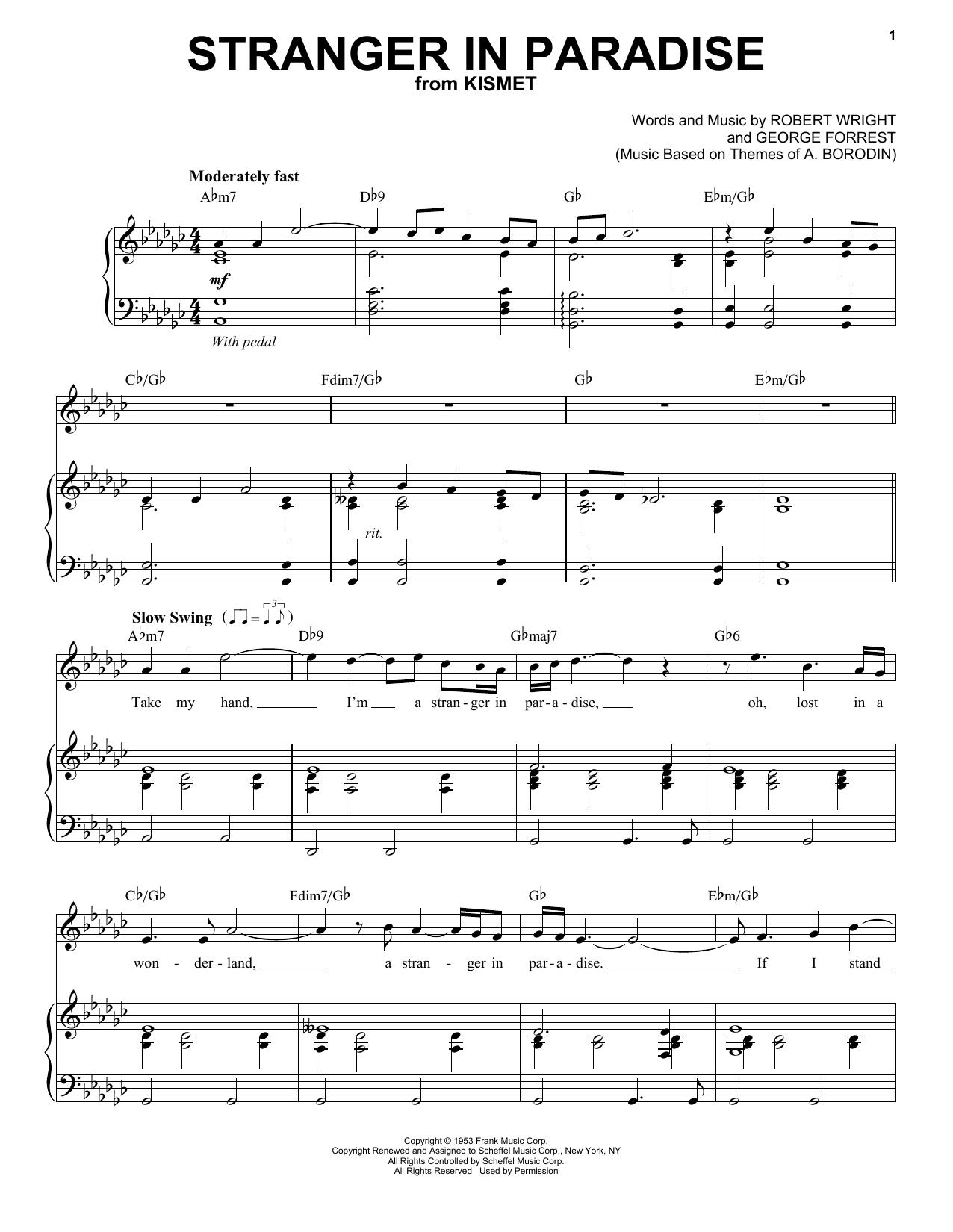 Tony Bennett Stranger In Paradise sheet music notes and chords