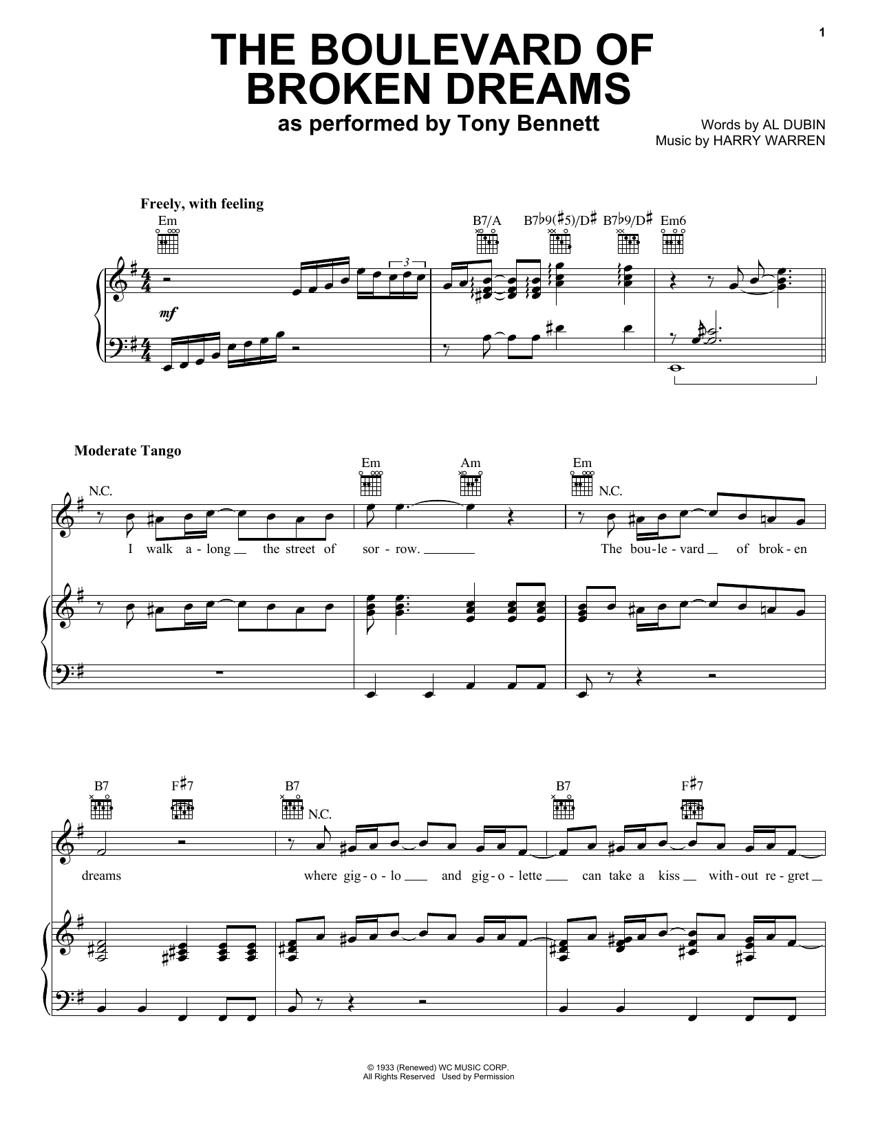 Tony Bennett The Boulevard Of Broken Dreams Sheet Music Pdf Notes Chords Jazz Score Piano Vocal Guitar Right Hand Melody Download Printable Sku 435136
