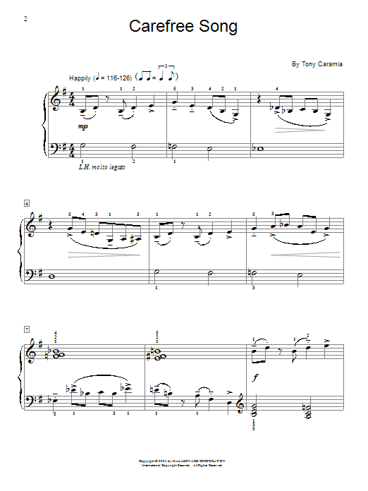 Tony Caramia Carefree Song sheet music notes and chords. Download Printable PDF.