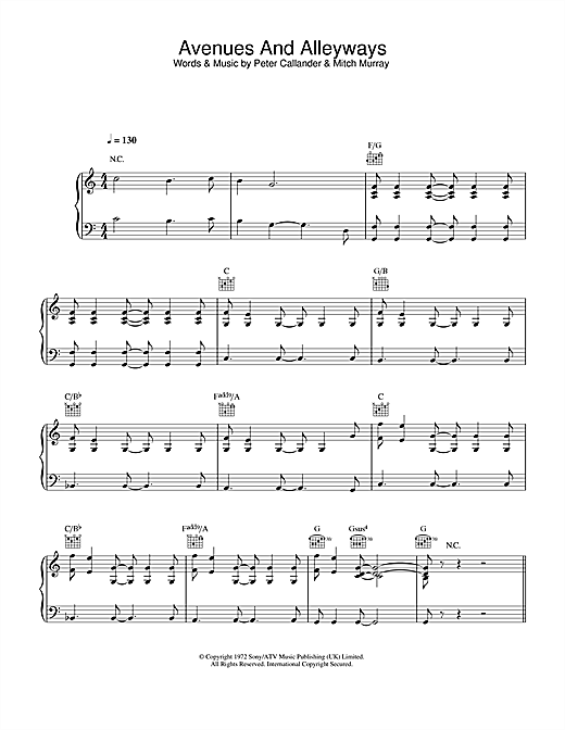 Tony Christie Avenues & Alleyways sheet music notes and chords. Download Printable PDF.