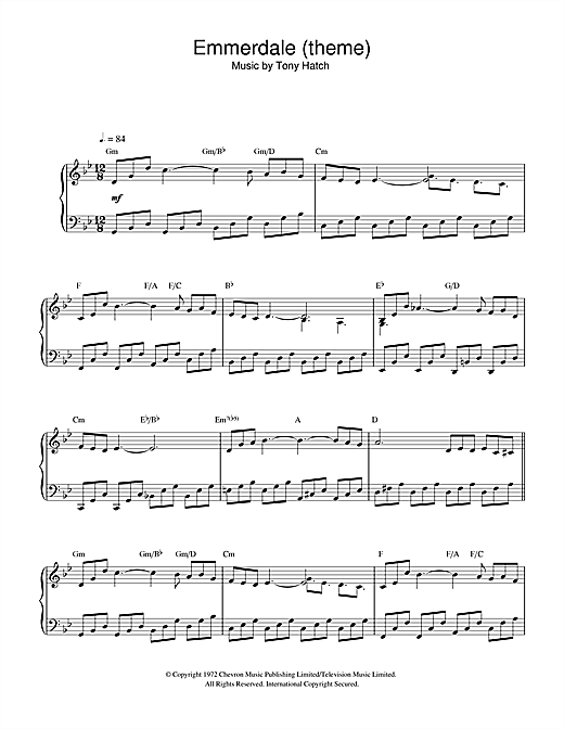 Tony Hatch Emmerdale (theme) sheet music notes and chords. Download Printable PDF.