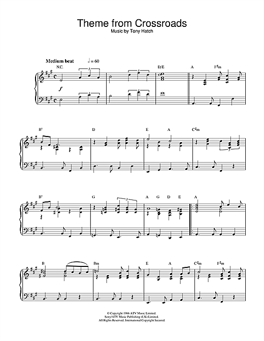 Tony Hatch Theme from Crossroads sheet music notes and chords. Download Printable PDF.