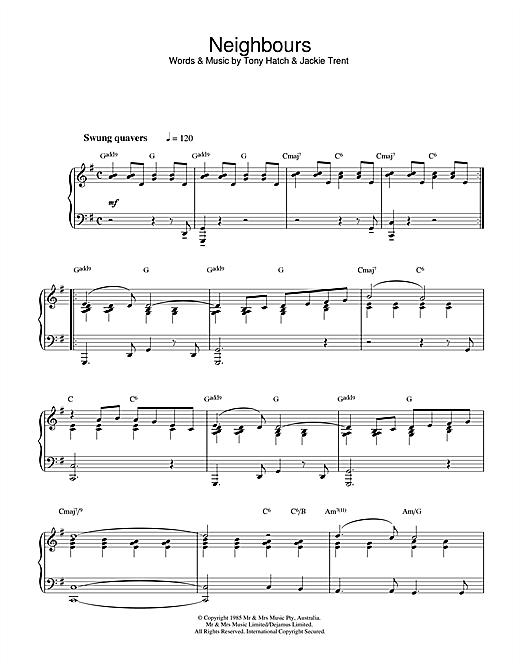 Tony Hatch Theme from Neighbours sheet music notes and chords. Download Printable PDF.