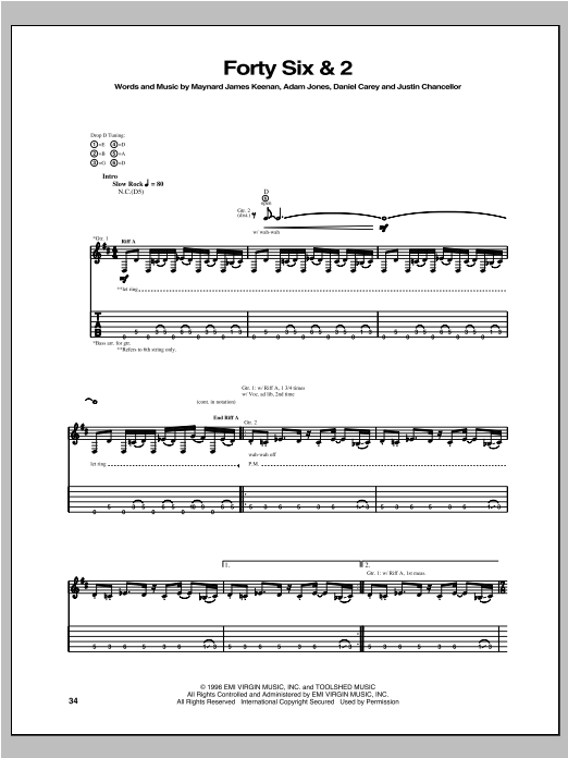Tool Forty Six & 2 sheet music notes and chords. Download Printable PDF.