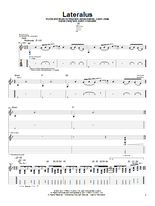 Tool Lateralus sheet music notes and chords