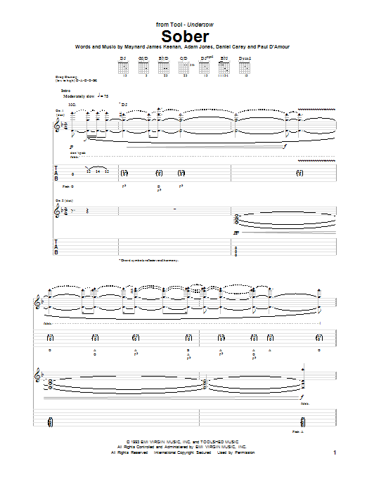 Tool Sober sheet music notes and chords. Download Printable PDF.
