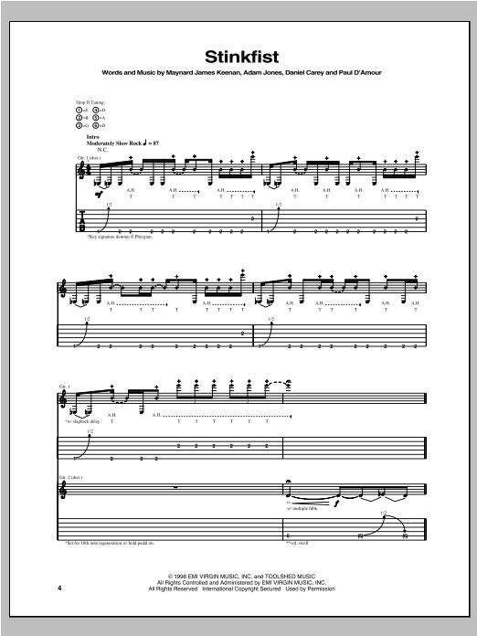 Tool Stinkfist sheet music notes and chords. Download Printable PDF.