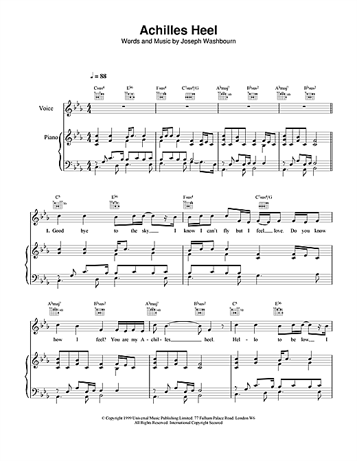 Toploader Achilles Heel sheet music notes and chords. Download Printable PDF.