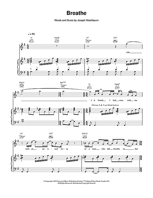 Toploader Breathe sheet music notes and chords
