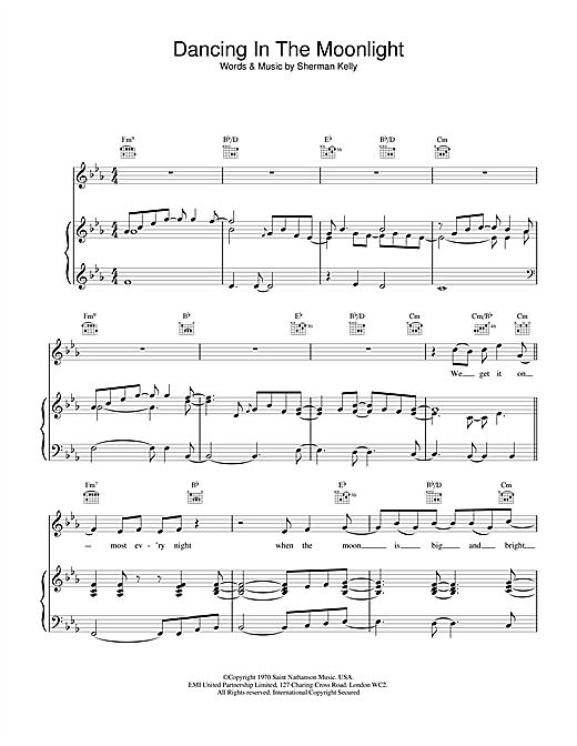 Toploader Dancing in the Moonlight sheet music notes and chords. Download Printable PDF.