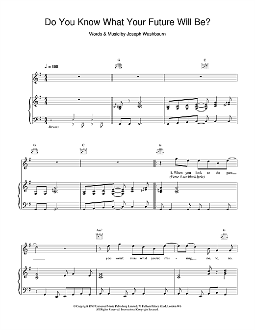 Toploader Do You Know What Your Future Will Be? sheet music notes and chords