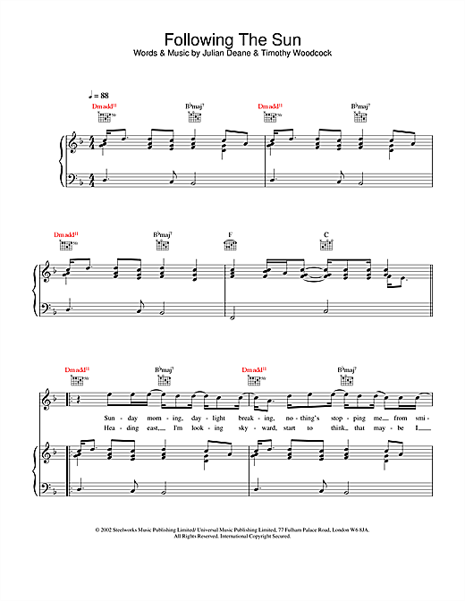 Toploader Following The Sun sheet music notes and chords