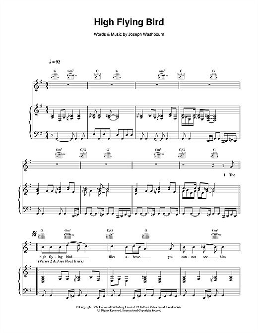 Toploader High Flying Bird sheet music notes and chords. Download Printable PDF.