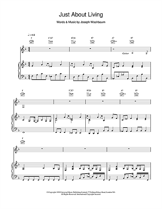 Toploader Just About Living sheet music notes and chords. Download Printable PDF.