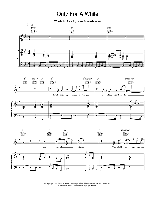 Toploader Only For A While sheet music notes and chords. Download Printable PDF.