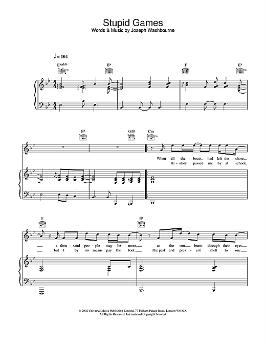 Toploader Stupid Games sheet music notes and chords. Download Printable PDF.