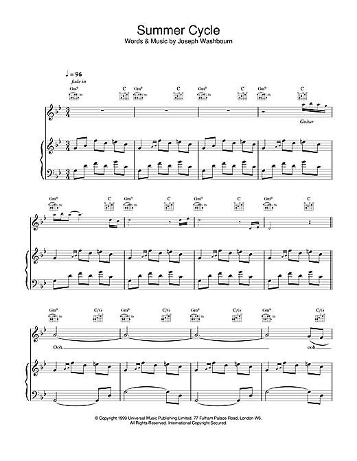 Toploader Summer Cycle sheet music notes and chords