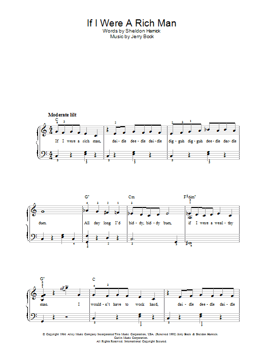 Topol If I Were A Rich Man (from The Fiddler On The Roof) sheet music notes and chords. Download Printable PDF.