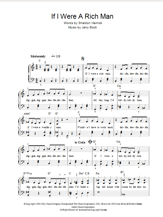 Topol If I Were A Rich Man (from Fiddler On The Roof) sheet music notes and chords. Download Printable PDF.