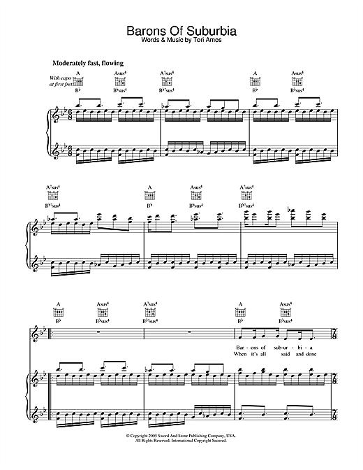 Tori Amos Barons Of Suburbia sheet music notes and chords. Download Printable PDF.