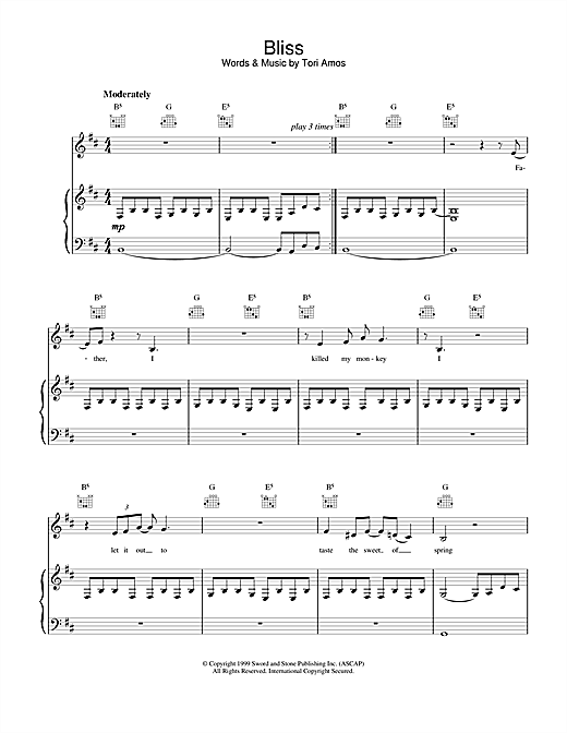 Tori Amos Bliss sheet music notes and chords. Download Printable PDF.