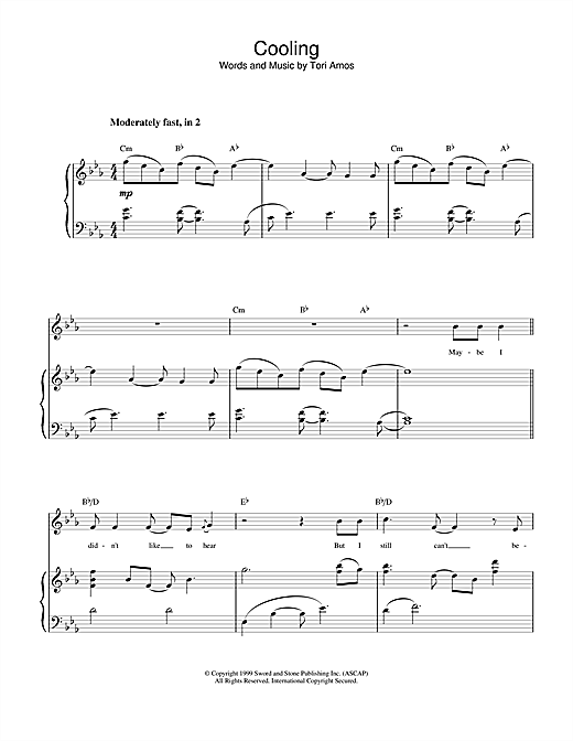 Tori Amos Cooling sheet music notes and chords