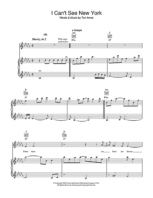 Tori Amos I Can't See New York sheet music notes and chords. Download Printable PDF.