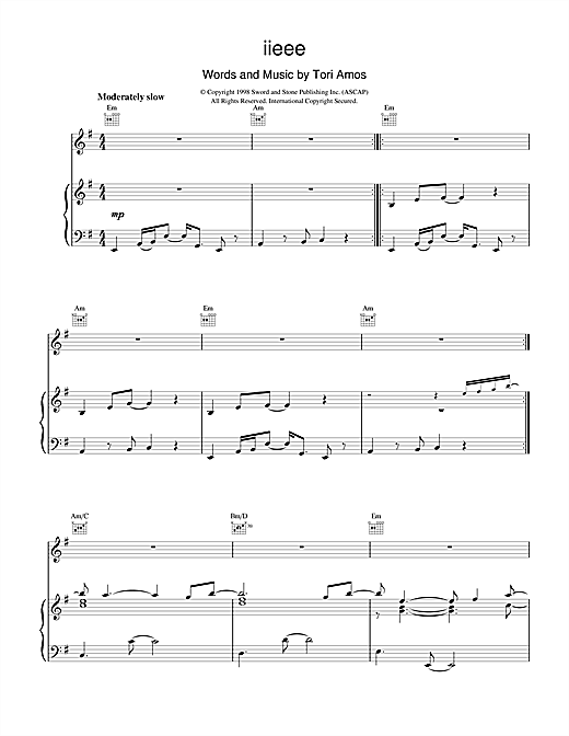 Tori Amos iieee sheet music notes and chords. Download Printable PDF.