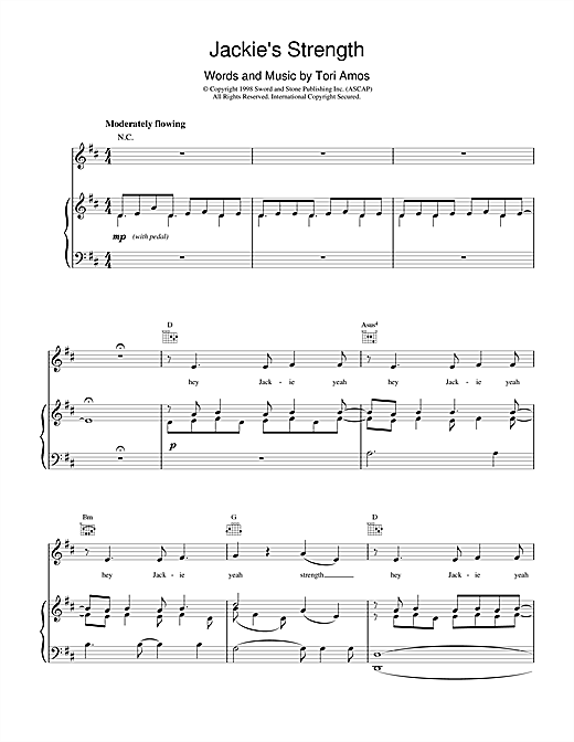 Tori Amos Jackie's Strength sheet music notes and chords