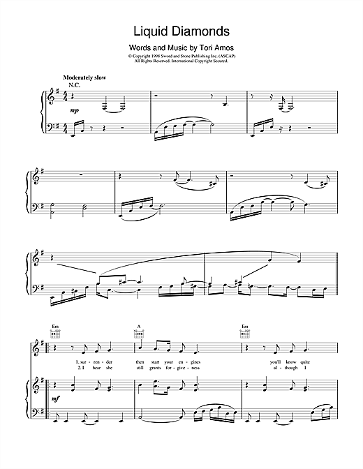 Tori Amos Liquid Diamonds sheet music notes and chords. Download Printable PDF.